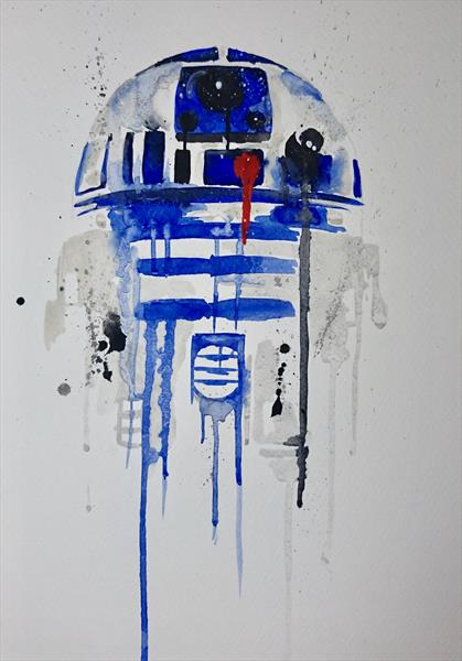 Star Wars R2D2 watercolour painting A4