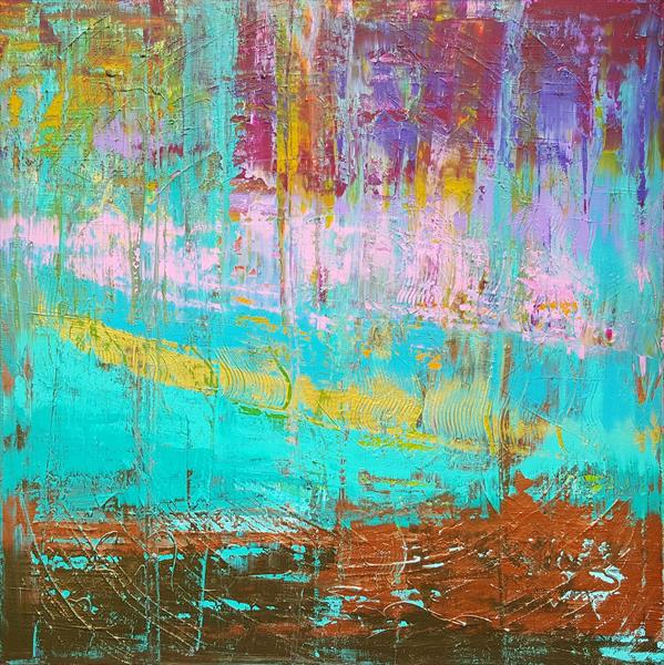 Sailing throught your destiny - large colorful textured abstract by Ivana Olbricht