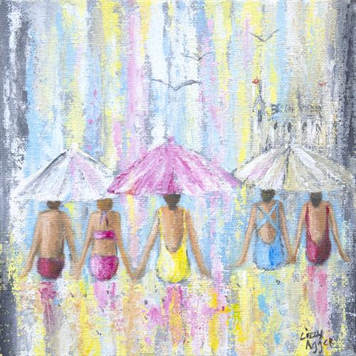 Beach Days Summer Pinks - Original acrylic painting on canvas by Lizzy Agger