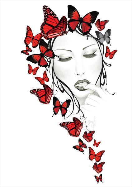 Imogen - Red Butterflies - Limited Edition Giclee Print of 19