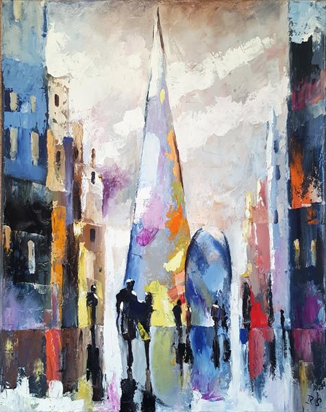 London in rain. City view. Oil painting. by Inna Stone