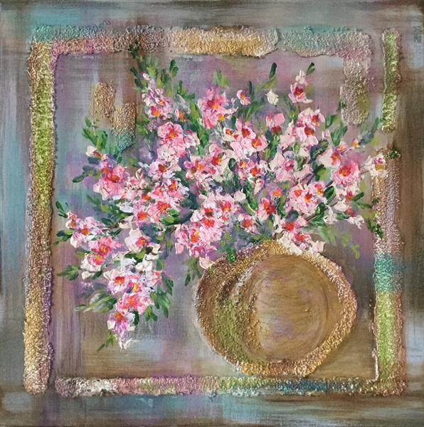Abstract Still Life with Pink Flowers by Viktoria Ganhao