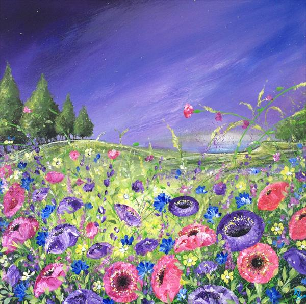 Violet Poppy Hillside  by Janice  Rogers