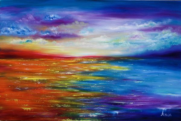 Seascape painting, ocean painting, abstract seascape  by Florentina(anca)  popescu