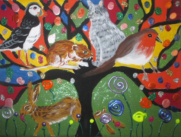 Animals Sitting On a Glittery Tree of Life in a Rainbow Sky