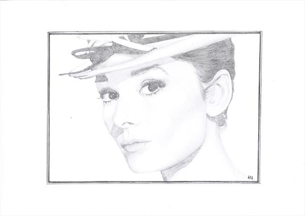 Audrey Hepburn in Pencil by Angela O'Donnell