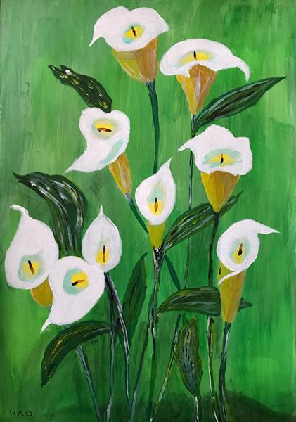 Arum lilies on green by Keith Owen