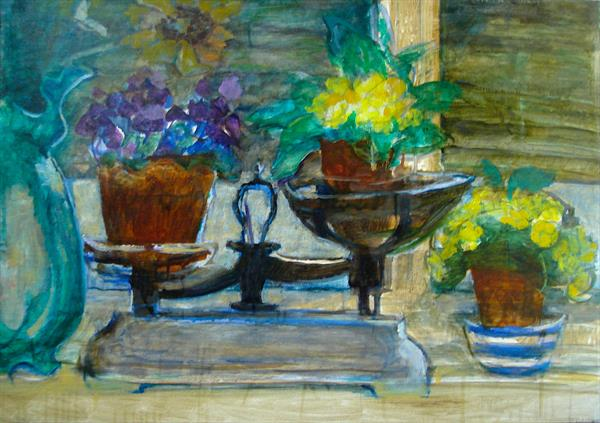 Primroses oil sketch  by Patricia Clements