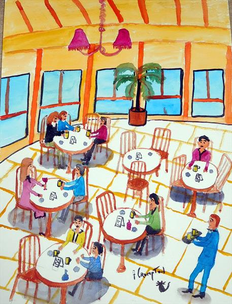In the cafe ( unframed) by Frank Crompton