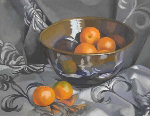 Oranges and Silver Cloth by Christina Bingle