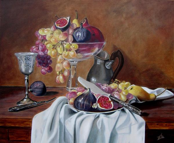 Still life with grapes, pomegranate and figs by Ira Whittaker