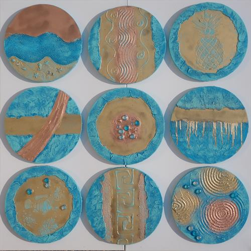 9 round abstract paintings textured A290 copper patina by Ksavera Art