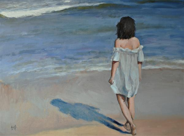 Blue Waters; Impressionist beach figure sea oil painting 18x24 inches. Ready to hang. by Jacqueline Smith