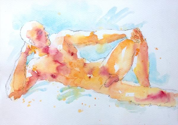 Reclining male nude by Peter Kavanagh