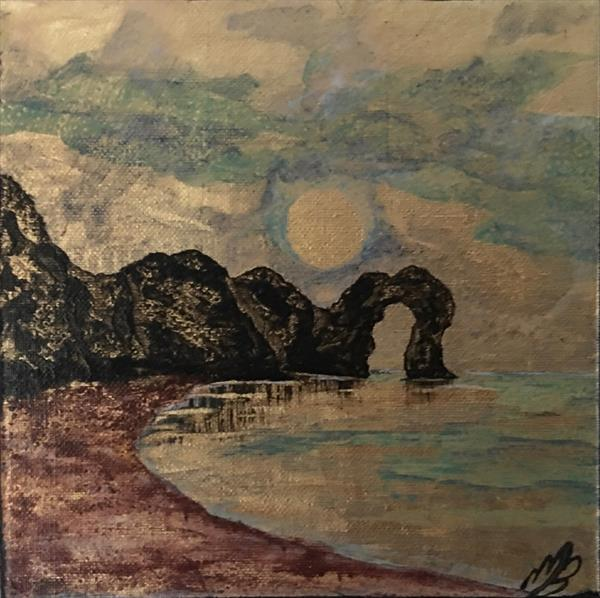 Durdle Door on gold leaf by Marja Brown