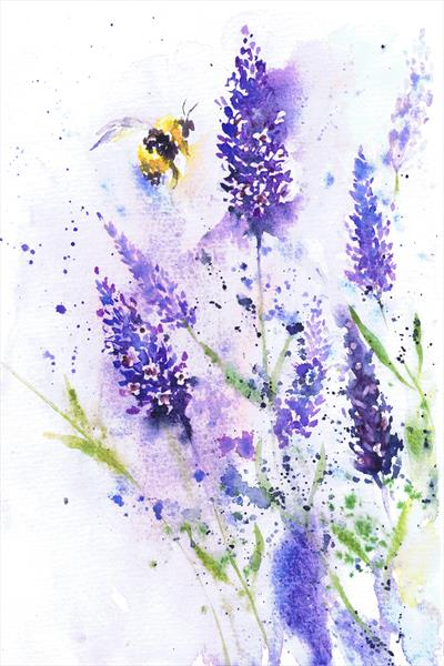 Bee and Lavender (framed artwork) by Michele  WALLINGTON