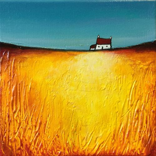 Little house on gold, textured  by JANE PALMER