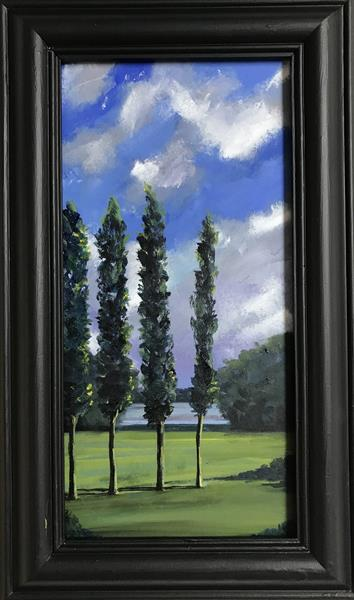 The French Poplars ( framed original oil painting )