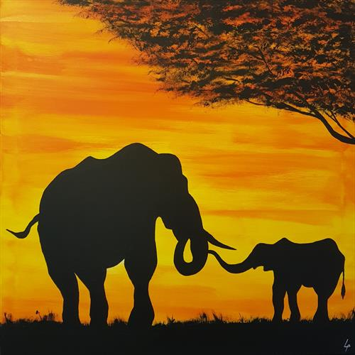 Elephant and young by Lee Proctor