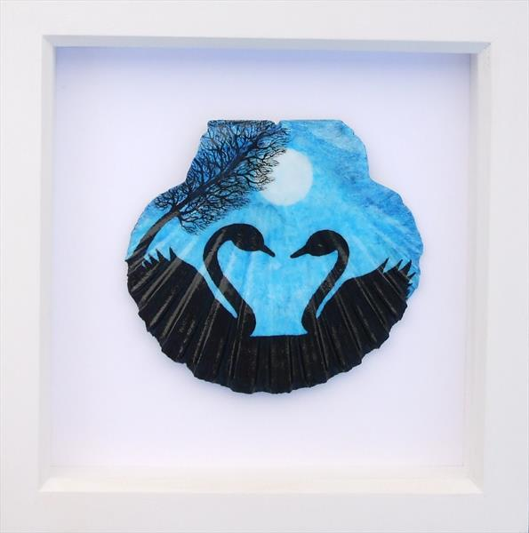 Swans and Moon - Framed Shell by Claudine Peronne