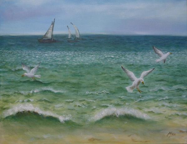 Brighton Gulls Seascape by Jane Moore