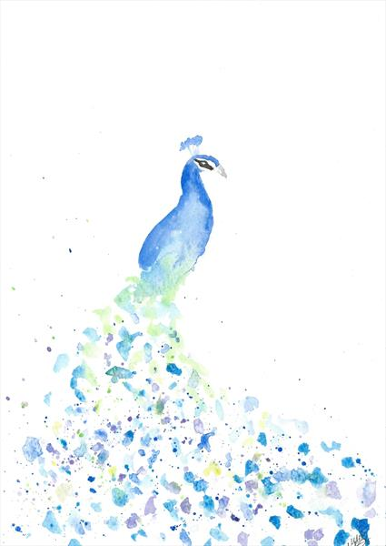 Watercolor Peacock Painting – Original Watercolor Art by Milena Barczak