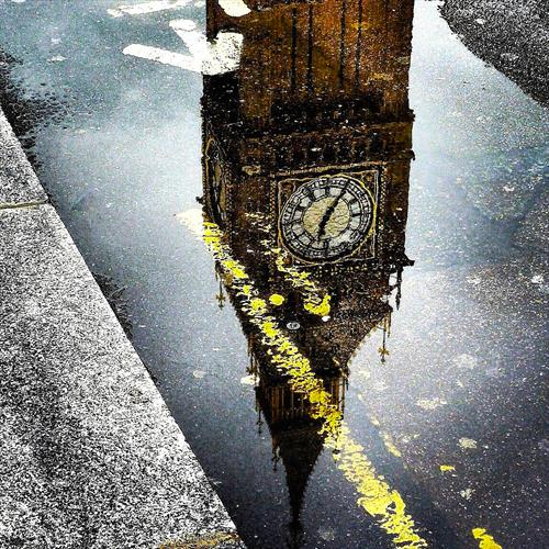 Big Ben Reflection Canvas by Christian Rose