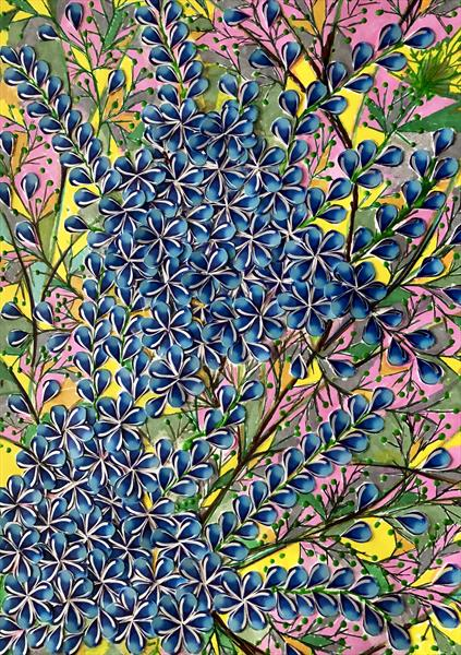 Blue flowers by Irum Iftikhar