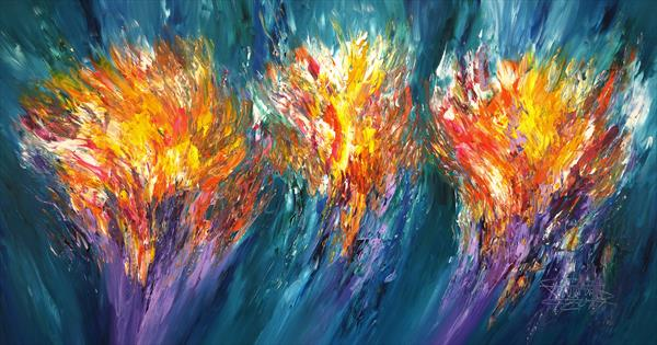 Turquoise Abstraction XXL 1 by Peter Nottrott