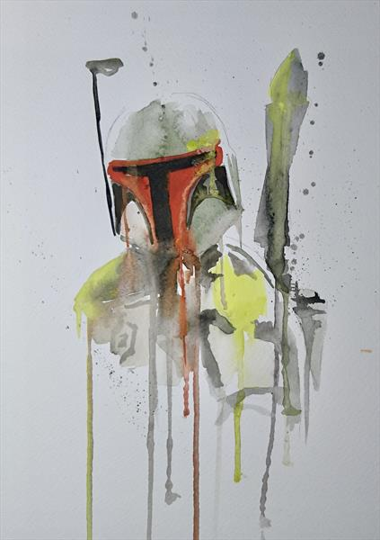 Star Wars Boba Fett watercolour painting A4 by Matt Dale