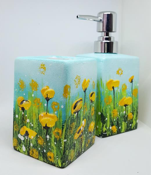 YELLOW POPPIES - CERAMIC SOAP DISPENSER & TUMBLER by Cinzia Mancini