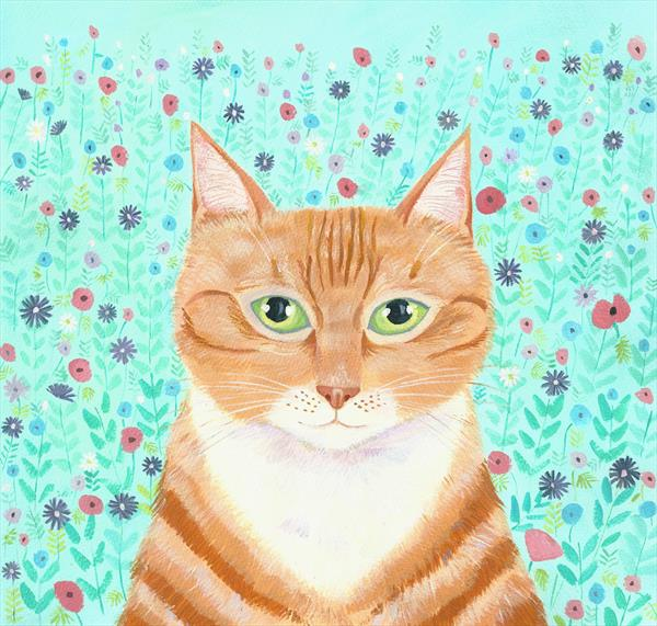 Ginger Cat in the Garden by Mary Stubberfield