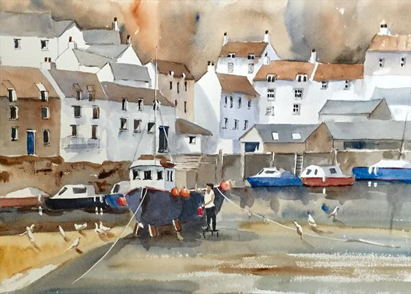 A WORKING DAY IN POLPERRO (large painting) by Susan Shaw