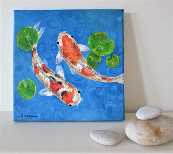 Koi Fishes on small canvas, ready to hang by Marjan's Art