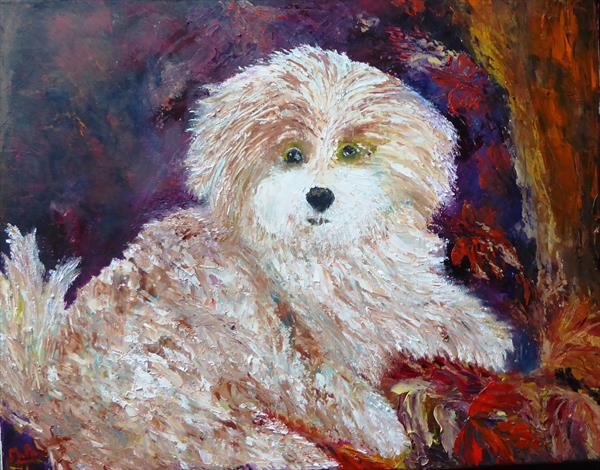 Bobby, the Maltese puppy by Mary Ann Day