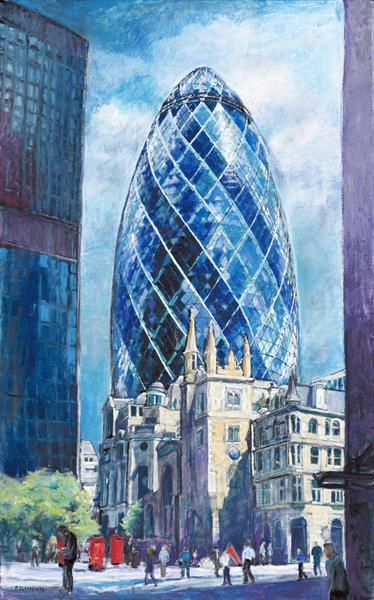 The Gherkin, London Cityscape by Patricia Clements