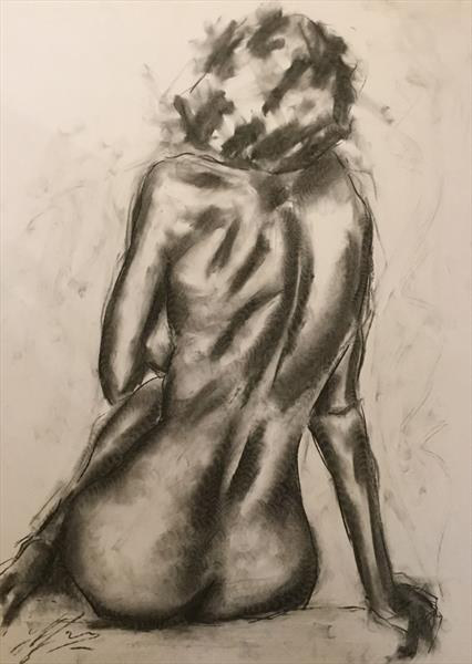 Fortune- Large Nude Charcoal Drawing by James Shipton