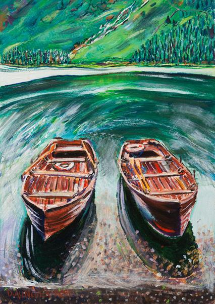BUTTERMERE BOATS by Diana Aungier - Rose