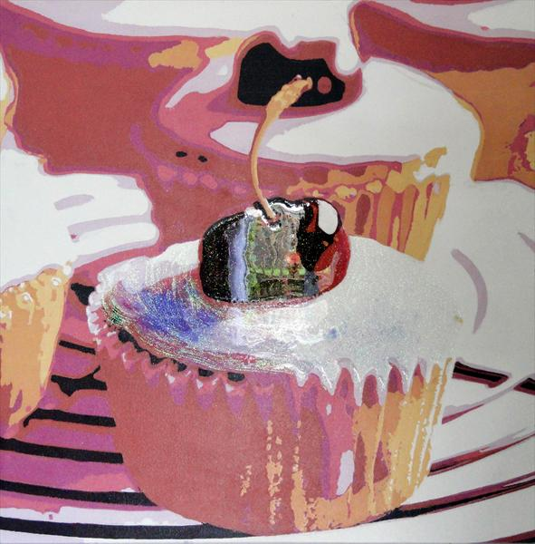 Cup Cakes - Two Cherries by Sue Rowe