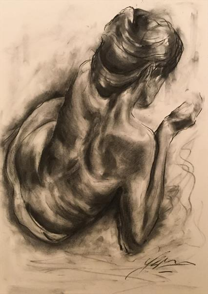 Indicium - (large charcoal drawing) by James Shipton