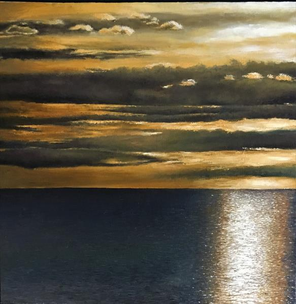 Sunset over sea by Lesley White