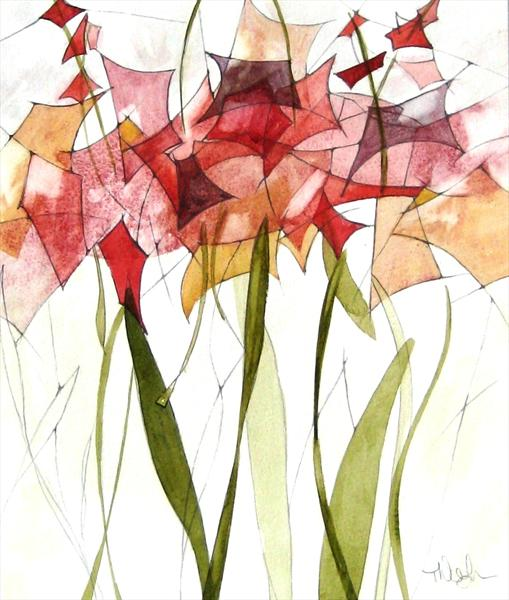 Red Lilies by Tracey Waghorn