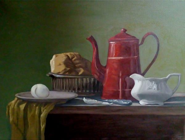 Still life 'Coffee Jug, Bread, knife and Egg' 2017 March by Steffan Johnson