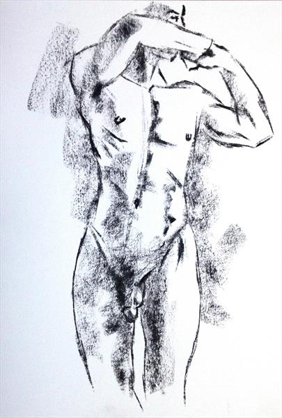 Charcoal male nude by Peter Kavanagh