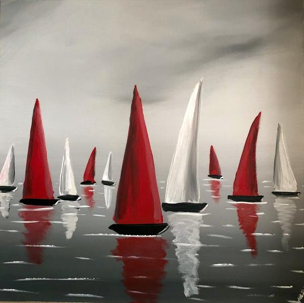 Red And White Sails by Aisha Haider