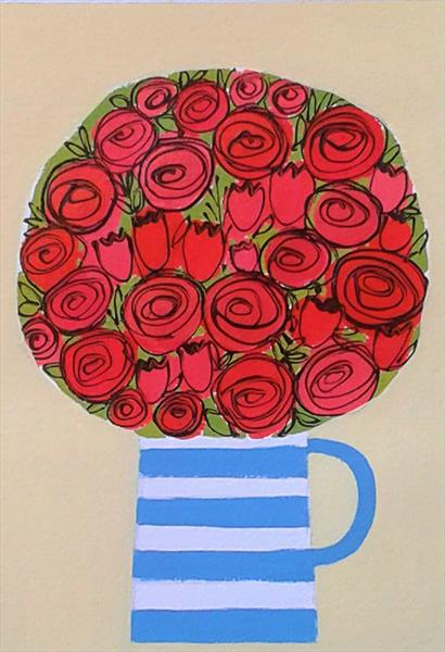 Red Flowers in a Cornishware Jug by Jan Rippingham