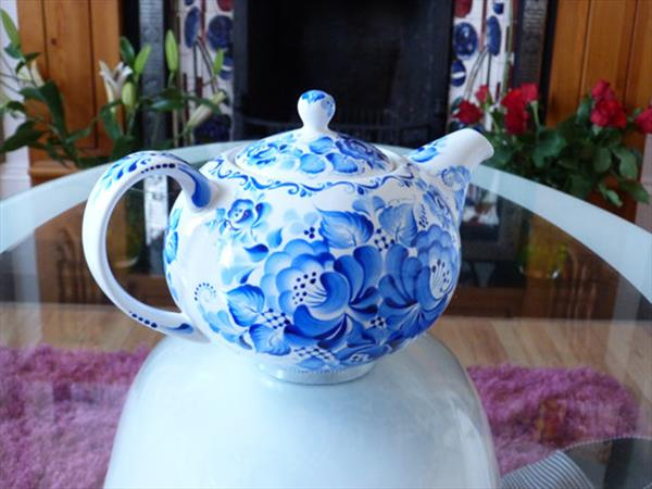 Large Blue and white teapot by Lana Arkhi
