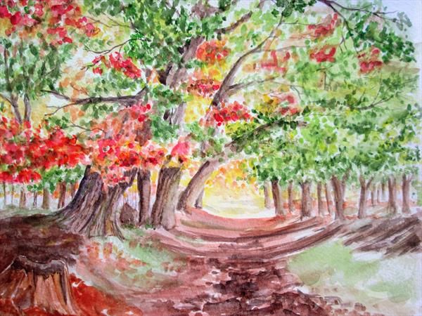 Autumn Woods watercolour, Forest scene by Marjan's Art