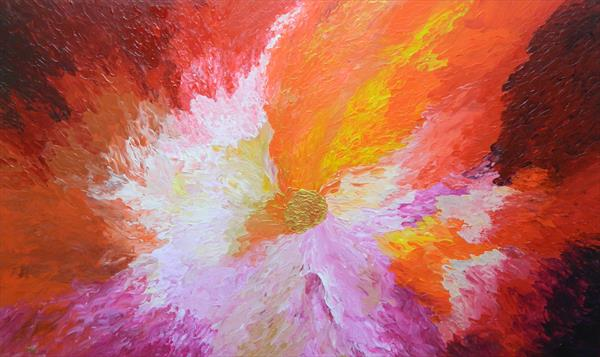 Wild Orchid -  Large colorful modern abstract fine art painting with texture