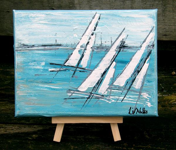 Miniature Seascape with easel  (No 34) by Lil Nutter